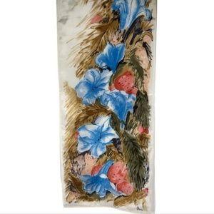 Vera Neumann Oblong Silk Scarf Blue Pink Flowers